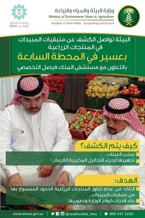بالتعاون مع مستشفى الملك فيصل التخصصي..البيئة تواصل الكشف عن متبقيات المبيدات في المنتجات الزراعية بعسير