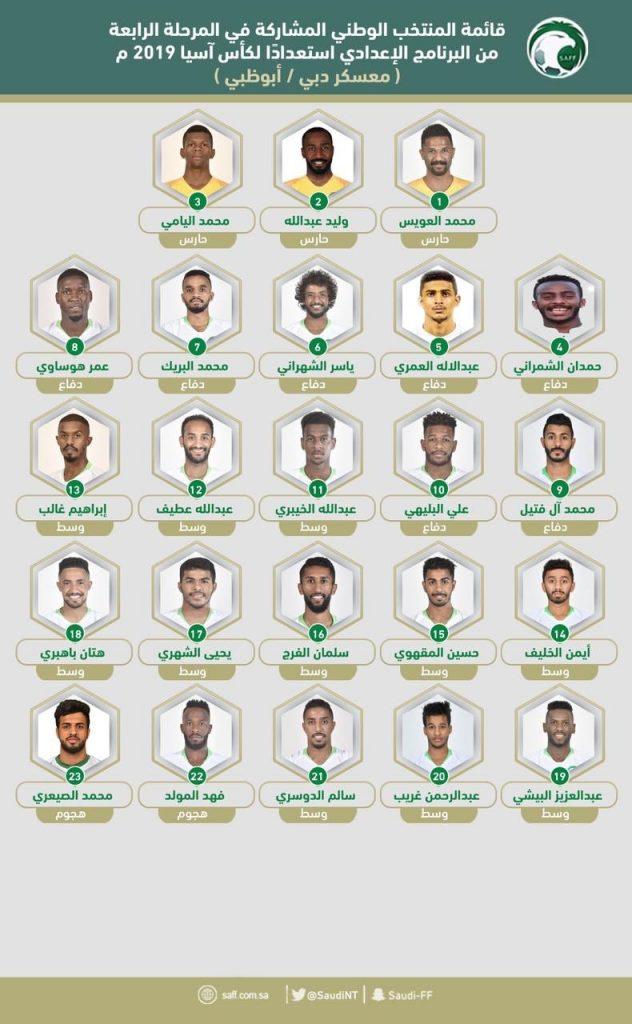 اتحاد كرة القدم يعلن قائمة الأخضر لآسيا2019