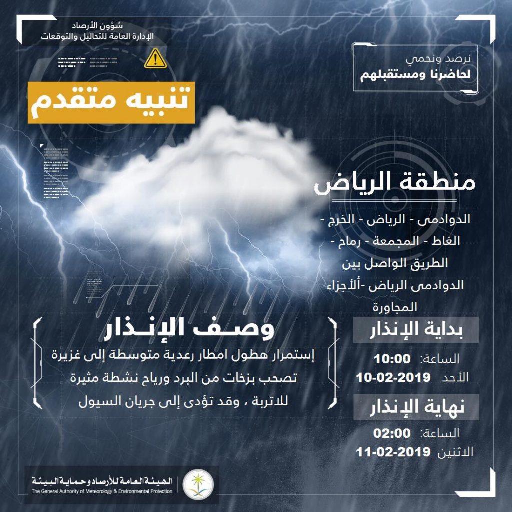 الأرصاد:أمطار غزيرة على منطقة الرياض مصحوبة بزخات البرد